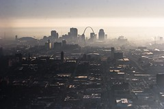 misty gateway to the west as seen from the west (W.L.M.II) Tags: airplane arch uncle kmox downtownstlouis greaterstlouisarea trafficreportairplane