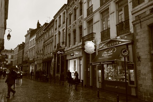 Cobble-stoned street in Lille...