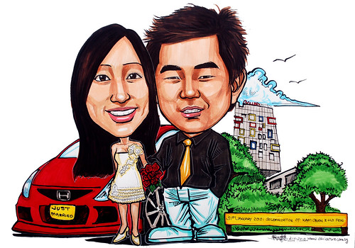 wedding couple caricatures @ Gallery Hotel