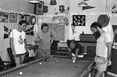 Crew from Le Noroit playing pool in our lounge, 06-Dec-1975 (lancea) Tags: newzealand playing pool french ship lounge vessel visit research brest subtropical noroit kermadec raoulisland