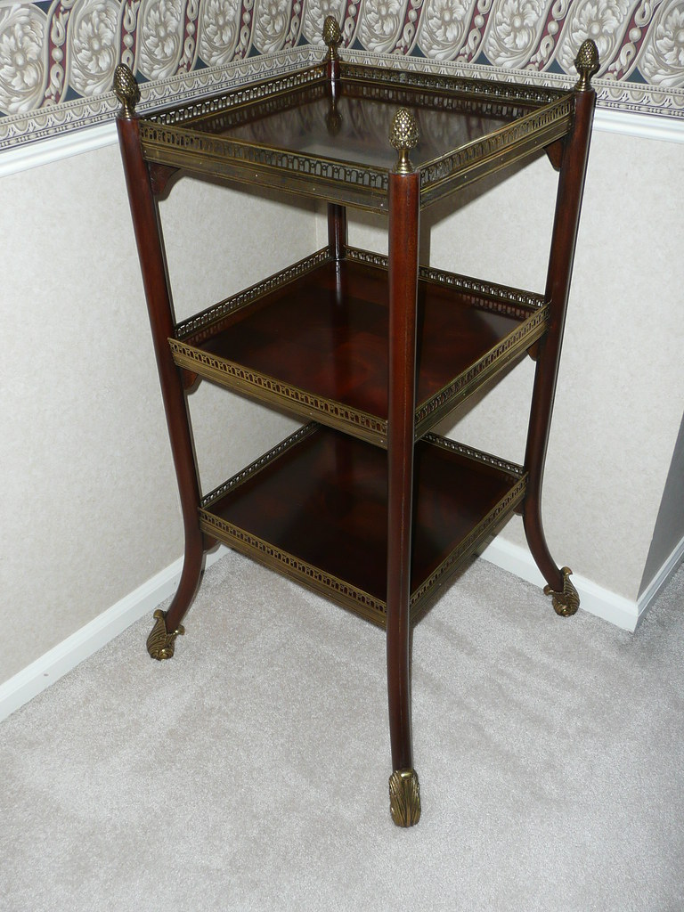 3-Tier Mahogany side table, brass accents