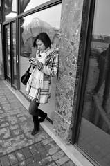 smoke (teh hack) Tags: street bridge people bw woman canada black mike girl leather person photography photo nikon women downtown jasper edmonton boots cigarette candid theend skirt nb smoking alberta plaid d5000