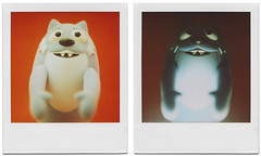 Lighting: It's the difference between a monster who wants to hug you, and one who wants to eat you. (tubes.) Tags: film monster toy polaroid sx70 diptych tubes 600 seantubridy yogabbagabba toodee toysonroids