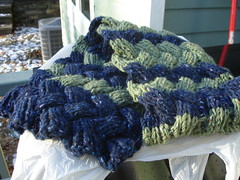 Hubby's Chunky Cable scarf done
