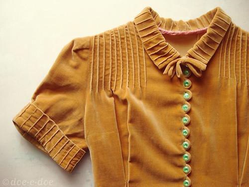 vintage velvet mustard dress