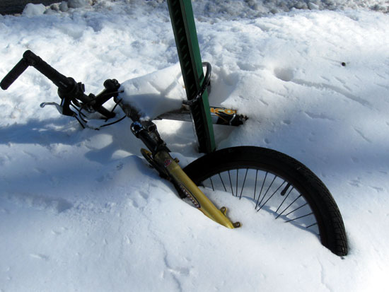 Bicycle Buried in the Snow
