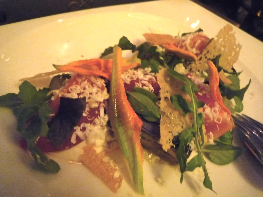 Heirloom tomato salad, marinated vegetables, fromage blanc, tarragon, almond aillade