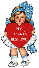 Cute little girl holding red heart - a 1910 Va...