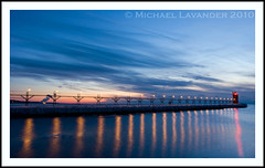 Lake Michigan Sunset (Michael Lavander) Tags: winter lighthouse snow cold ice canon evening pier dusk michigan canon20d lakemichigan greatlakes blackriver southhaven 1740f4l february2010 michaellavander httpmlavcom 262010