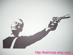 leon 003 (Large) (Kelmosa) Tags: blackandwhite art silhouette movie gun drawing leon marker celebrities sharpie assassin portman jeanreno hitman leontheprofessional