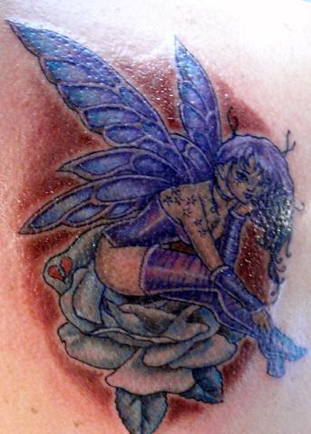 purple rose tattoo. Fairy and Rose Tattoo. Purple