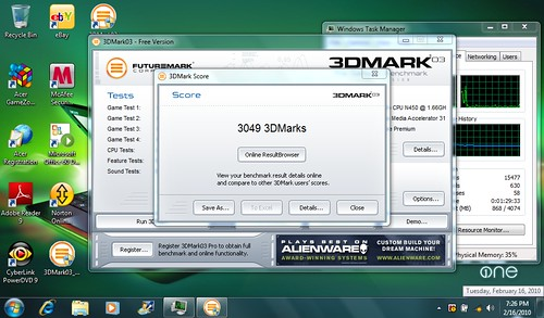 Acer Aspire One 532g 3DMark03 Benchmark