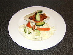 Lamb Chilli in Pitta Bread with Salad