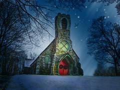 December Church (Sunset Sailor) Tags: snow church night stars december distorted explore distressed starry betterthangood nighttexturebysunsetsailor
