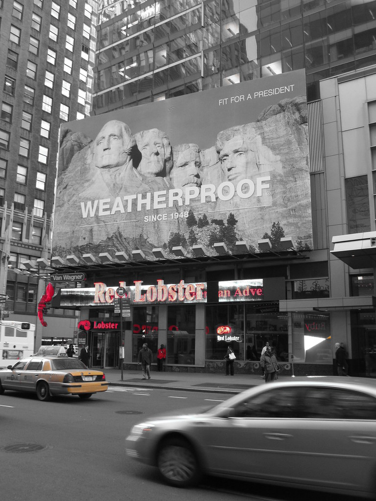Barack Obama Times Square NYC Billboard Replaced with Mount Rushmore add campaign b&w black and white image