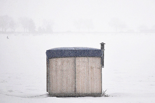 Ice Fishing Shack in the Snow