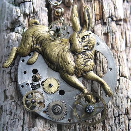 Pocket Watch rabbit Steampunk tribute to Alice in Wonderland necklace by ClockworkZero