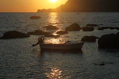 Sunset Across The Sea (Alan1954) Tags: sunset sea orange holiday water beautiful boat rocks europe mediterranean silhouettes greece crete plakias topshots bej mywinners mywinner