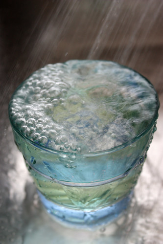 A glass of running water