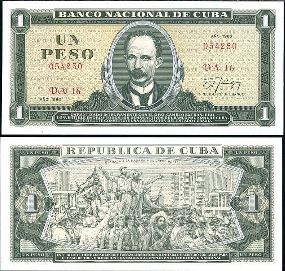 KUBA 1 PESO 1986 P102