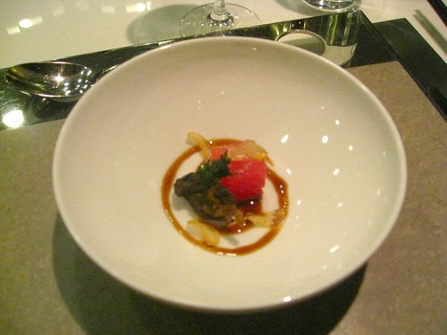Bo Innovation - Hong Kong - January 2010 - Escargpt with compressed watermelong and sichuan vinaigrette