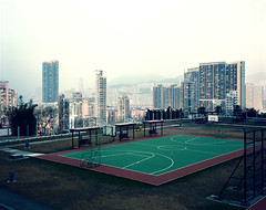 Hong Kong #13 (Thomas Birke) Tags: china city urban man film basketball analog buildings court tin view kodak hill dream large 8x10 300mm hong kong highrise format ho portra sar appartment p2 sinar magnificient schneiderkreuznach 160nc aposymmar