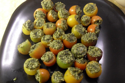 pesto stuffed heirloom tomatos