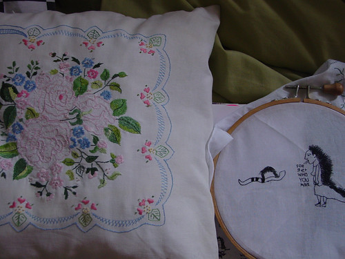grandmother's embroidery vs. mine