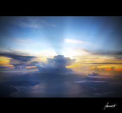 A Pacific Sunshine. (Tomasito.!) Tags: ocean blue light sea sky orange sun water sunshine yellow japan clouds sunrise nikon pacific violet pacificocean rays vignette jt raysoflight noriega tomasito d90 nikond90 mygearandmepremium