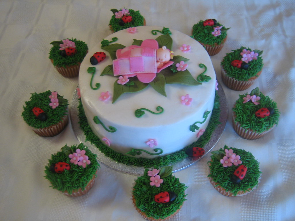 Garden Themed Baby Shower Cake/Cupcakes