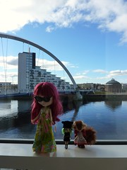 The girls enjoy the view from the hotel window
