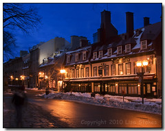 Rue Ste-Anne (Lisa-S) Tags: street winter snow canada reflection buildings lights twilight glow quebec branches lisas quebeccity rejected allrightsreserved accepted may10 villedequebec platinumheartaward copyrightlisastokes gappool gettyimagescanada