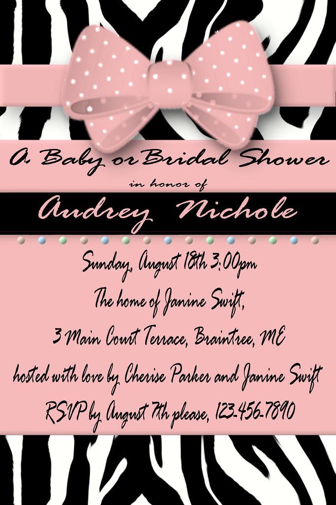 D#13, pink, bow, zebra, custom, personalized, baby, wedding, bridal, shower, unique, invitations, elegant, different, pink, bow, polka dot,baby blue, polka dot, polka, dot, ribbon, bow, black, tiffany