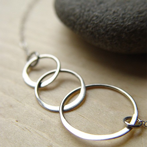 Triple circle silver charm necklace by friedasophie jewelry design