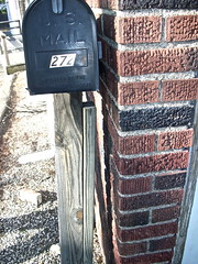 Mail Time:p (heatherm815) Tags: wood ny brick mailbox outside us spring sticks cornwall mail general box bricks letters sunny pebbles service approved postal 272 usmail postmaster