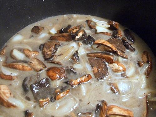 chicken stock plus saute onion and mushroom