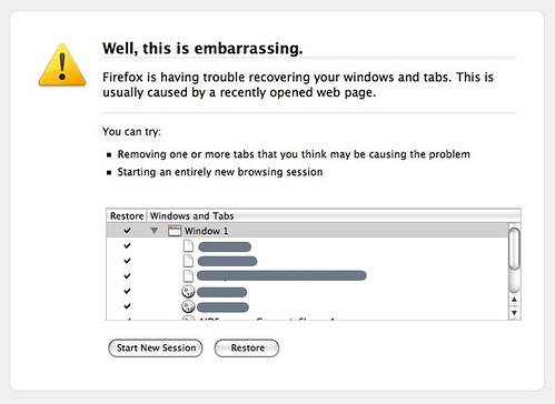 Well, this is embarrassing. Firefox is having trouble recovering your windows and tabs. This is usually caused by a recently opened web page.