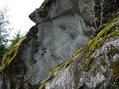 Jimbo knows the story behind the carving in this rock - circa 1917