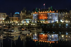 The Empress Hotel Reflected (Brandon Godfrey) Tags: world pictures city wallpaper urban canada reflection building water night buildings reflections landscape boats photography lights sussex mirror scenery bc photos pics belmont earth britishcolumbia free scene victoria clear pacificnorthwest northamerica undefined hdr highdynamicrange unionclub innerharbour backround photomatix theempresshotel thechallengegame challengegamewinner pregamesweepwinner