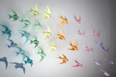 PURSUIT OF HAPPINESS (MABONA ORIGAMI) Tags: colors birds paper spring origami installation folding swallows pursuitofhappiness pastelle