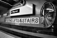 Untitled (Street Picture) Tags: stairs underground lift tube streetphotography wayout 18200mm d90 londonstreetphotography