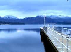 Ullswater in Winter (Tony Worrall Foto) Tags: blue winter lake reflection nature wet water out season outside pier cool view jetty north stock lakes scenic h2o hills cumbria steamer picnik feature damp ullswater thelakedistrict