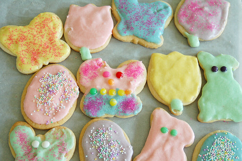 Frosted Easter cookies.