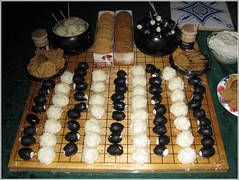 Game of Go, cheese and olive version