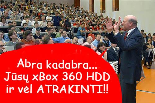 Xbox 360 NXE Dashboard update atrakina banintus HDD!