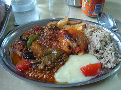 Moussaka, Rice, Chicken, Fries and Purée
