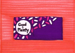 Good & Plenty Candy (Homemade Pop) Tags: art artwork artist folkart outsiderart folk originalart contemporary drawings pop popart homemade marker prints prismacolor foodart doodling 5x7 magicmarker foodpackaging pilotpen cheapart retroart brightart originalillustration quirkyart