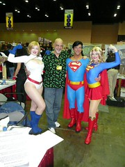George Perez with Power Girl, Superman, & Supergirl by BelleChere