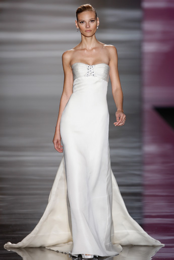 Strapless style wedding dress with silk