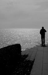 (~mariateresa~) Tags: shadow sea bw man reflection blackwhite nikon mare horizon ombra bn uomo bianconero orizzonte letitshine sagoma cespuglio d40 lousianamuseumofart